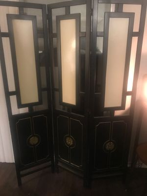 Antique Oriental lacquered hardwood privacy screen with shell paneling for Sale in Los Angeles, CA