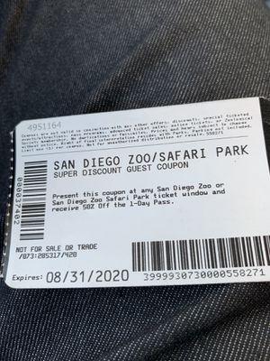 San Diego zoo or Safari park Half price 2 tickets for Sale in Irvine, CA