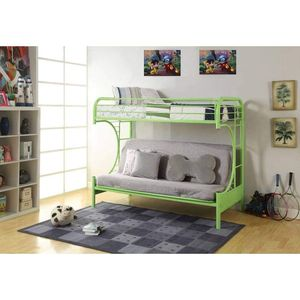 LIME GREEN FINISH METAL CONSTRUCTION TWIN over FULL SIZE FUTON BUNK BED / LITERA VERDE CAMA SILLON for Sale in Hemet, CA