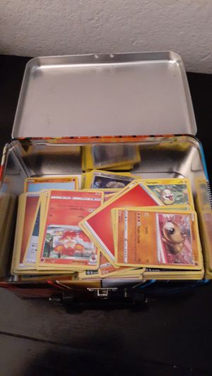 Pokemon lunchbox with almost 200 cards with giant pikachu card for Sale in Escondido, CA