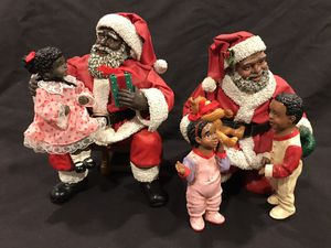 Vintage African American Santa w/Girl Clothtique by Possible Dreams and Santa with two children for Sale in Cerritos, CA