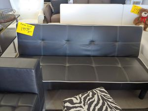 Black and white leather blend futon 3 position $169.99 for Sale in Phoenix, AZ