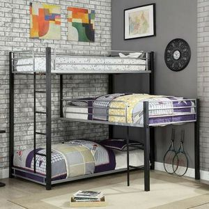 SAND BLACK FINISH Industrial Style 3-Tiered Bunk Bed TWIN SIZE BEDS Corner Design for Sale in San Diego, CA