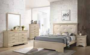 A brand new queen wooden diamond bedroom set no mattress bed frame dresser mirror and 1 nightstand for Sale in Miami, FL