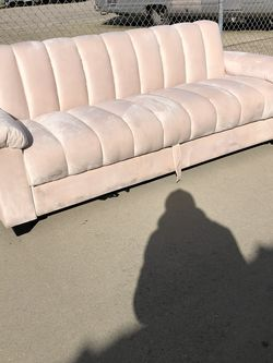 Beautiful Pink Velvet Sofa With Storage, Floor Model for Sale in Fowler,  CA
