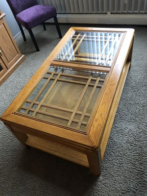 Quality solid wood matching coffee table and end table for Sale in Dearborn, MI