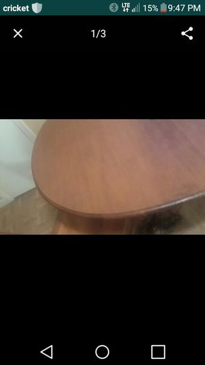 Wooden table with 4 chairs one of the chair has water damage MOVING OUT SALE PICK UP ONLY NEED GONE ASAAAP for Sale in Houston, TX