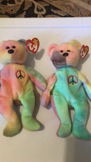 Two TY tie dyed peace beanie babies for Sale in Greenville, SC