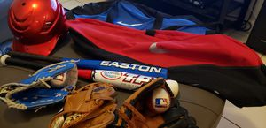 Kids baseball gear, 3 gloves, 2 bags, 1 helmet 2 bats, 2 balls for Sale in Homestead, FL