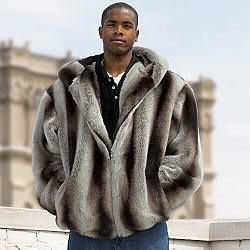 Large Faux Chinchilla Fur Coat Hooded Parka for Men for Sale in Alexandria, VA