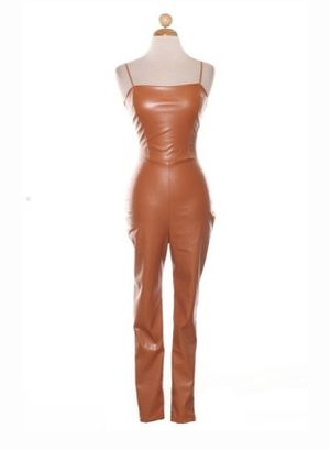 Brown faux leather jumpsuit for Sale in Miami, FL