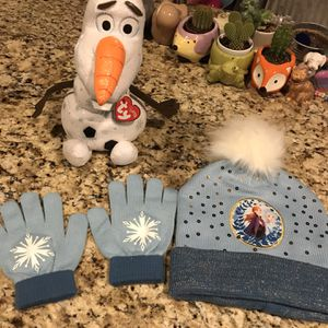 Disney Frozen Hat, Gloves & Olaf Ty Sparkle - All Brand New for Sale in Plainview, NY