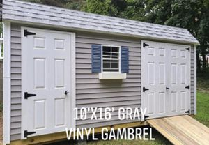 New 10' x 16' Gray Vinyl Gambrel Shed with 2 Doors for Sale in Lowell, MA