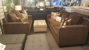Brand new brown linen sofa + loveseat with cup holders for Sale in San Diego, CA