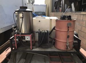 Pressure washer setup with steamer and grease separator Power generator in water tank included 5 by 8 trailer included $4900 OBO Ready to be used for Sale in Bellflower, CA