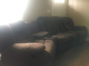 Large Brown Couch: 2 Reclining Seats, Four Cupholders (storage bins) and Ottoman for Sale in Nashville, TN