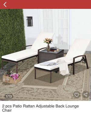 2 pcs Patio Rattan Adjustable Back Lounge Chair and two ottoman for Sale in Bakersfield, CA