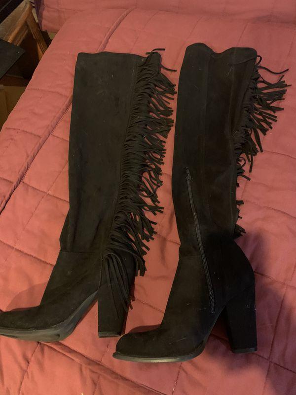 Black heel boots with side fringe. Sz 8