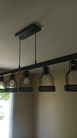 Unitary Brand Antique Black Metal Long Kitchen Island Light for Sale in Rancho Cucamonga, CA