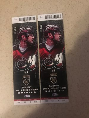 2 Colorado Mammoth Tickets 12th ROW!! for Sale in Lakewood, CO