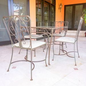 Vintage Glass Top Wrought Metal Patio Table with Chairs for Sale in Los Angeles, CA