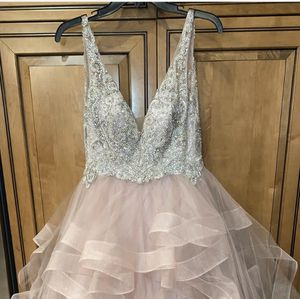 An 100% polyester hand beaded prom dress. for Sale in Littleton, CO