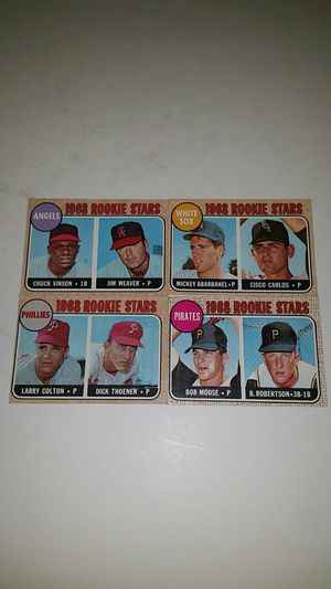 Rare vintage old 1968's TOPPS - ROOKIE STARS Baseball cards (ANGELS, PHILLIES, PIRATES & WHITE SOX) for Sale in Anaheim, CA