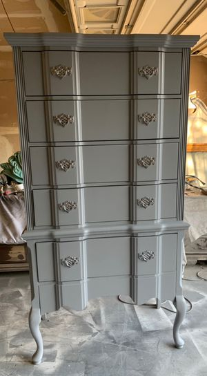 A very tall, tallboy dresser with 5 deep drawers and silver handles simply amazingly beautiful people for Sale in Antioch, CA