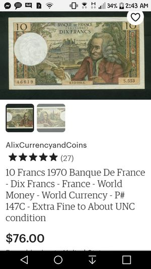 10 DIX FRANCE BANQUE DE FRANCE BILL for Sale in Spokane, WA