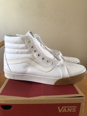 Brand new vans sk8-hi gum bumper true white skate skateboard shoes (men's 7.5, women's size 9) for Sale in La Mesa, CA