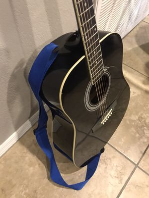 Johnson Acoustic Guitar-Black comes with belt in good condition for Sale in Phoenix, AZ