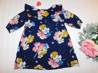 Old Navy Girls 4T Large Floral Blue Fall Wide Collar Dress & Gymboree Hair Clip for Sale in Tacoma,  WA