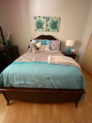 Bedroom set, pictures, lamp , curtains and a few accessories. Not including mattress for Sale in Miramar, FL