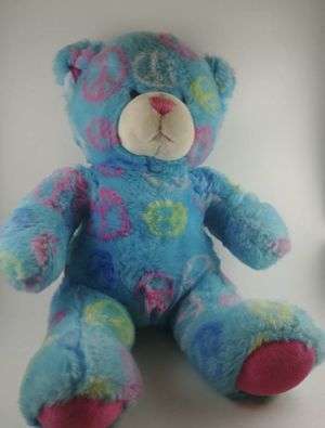 "Build A Bear Plush Teddy Peace Sign 14"" Stuffed Animal Blue Pink White Green for Sale in Aliquippa, PA"