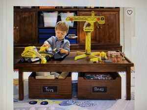 Toy wood storage kid play area table pottery barn for Sale in Stevenson Ranch, CA