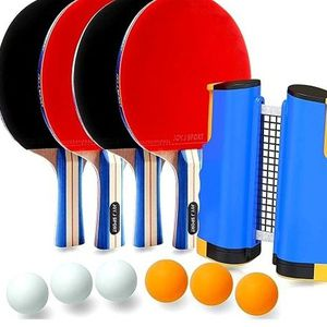 Joy.J Sport Ping Pong Paddle Set with Retractable Net - 4 Premium Table Tennis Rackets - 6 Standard 3-Star Balls, Portable Cover Case Bag (4-Player Se for Sale in La Habra, CA