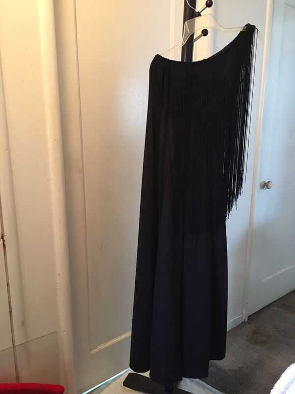 Black long fringe one shoulder jumpsuit $15
