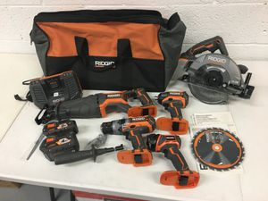 Ridgid 18 Volt 5 Tool Kit 4 Ah Battery 2 Ah battery included Hammer Drill Recipro Circular Saw Impact Driver for Sale in Mesa, AZ