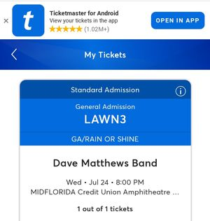 Dave Matthews Band ticket for Sale in Tampa, FL