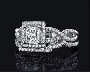 Fantastic Jewelry Natural Gemstone 8.9CT Princess Cut White Sapphire Diamond 925 Solid Sterling Silver Wedding Anniversary Ring Set. Size 7&8 for Sale in Moreno Valley, CA