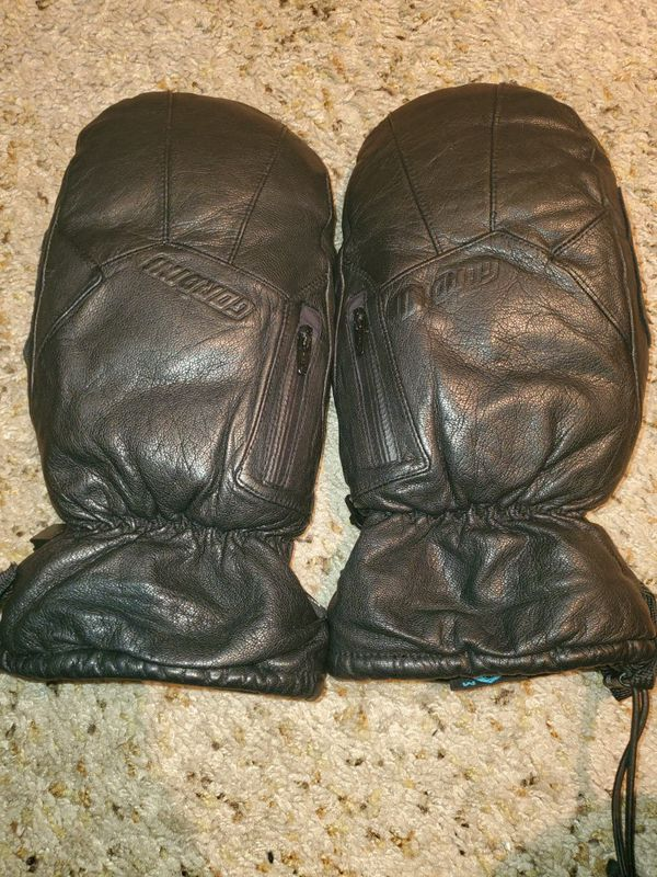 GORDINI Goose feather down leather mittens size M