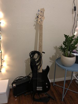 Bass Guitar with Stand, Amp, Cord and Fabric Case for Sale in Los Angeles, CA