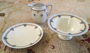 Three Pieces Art Nouveau Hand Painted Austrian German Porcelain 1914 for Sale in Venice, FL