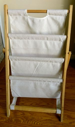 Folding 3-tier wood and cloth magazine stand for Sale in San Mateo, CA