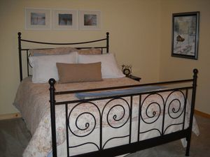 Queen Bed frame black metal as shown. for Sale in Ronald, WA
