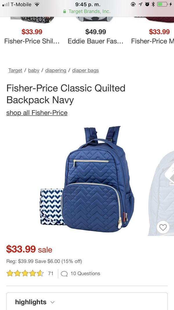 fisher price morgan diaper backpack blue for Sale in Miami, FL - OfferUp 401b643668