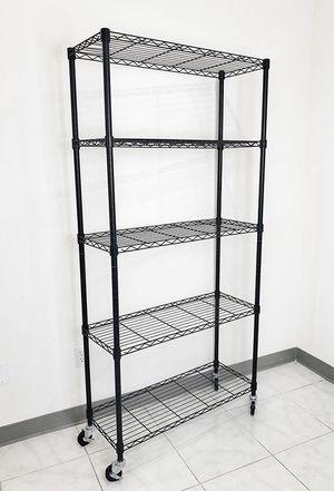 "New in box $70 Metal 5-Shelf Shelving Storage Unit Wire Organizer Rack Adjustable w/ Wheel Casters 36x14x74"" for Sale in Downey, CA"