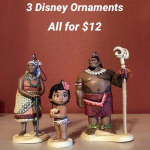 Set Of 3 Disney Ornaments Moana Pixar Baby Moana Chief Tui Gramma Tala for Sale in Corona, CA