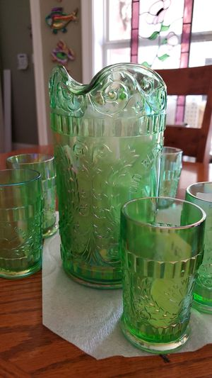 Carnival Ice Green iridescent pitcher & tumblers for Sale in Baton Rouge, LA