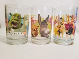 Shrek The Third McDonald's Collectible Glasses- Set Of 3- 2007 Pre-owned Excellent Condition for Sale in Queen Creek, AZ